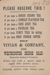 Advert for Vivian & Company tea merchants
